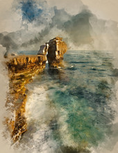 Watercolor Painting Of Stunning Geological Rock Cliff Formations With Waves Crashing Into Them As Tide Goes Out
