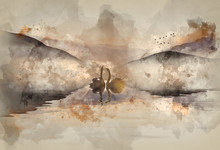 Watercolor Painting Of Beautiful Romantic Image Of Swans On Misty Lake With Mountains In Background