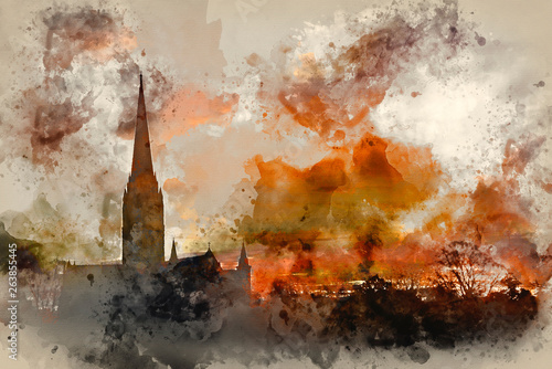 Fototapeta Watercolor painting of Winter frosty sunrise landscape Salisbury cathedral city in England obraz