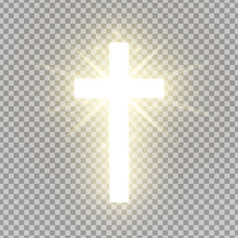 Shining Cross Isolated On Tran...