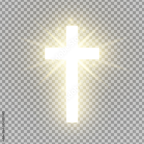 Obraz na plátně Shining cross isolated on transparent background