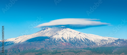 Obraz Mount Etna is one of world's most active volcanoes located on east coast of Sicily, Italy - fototapety do salonu