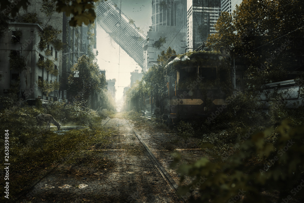 Fototapeta Überwuchte Endzeit Stadtszene
