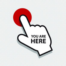 You Are Here Pointer - Vector Illustration - Isolated On White Background