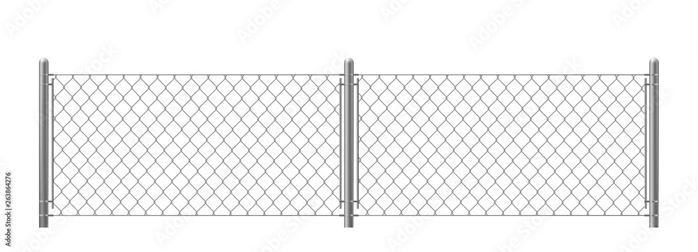 Fototapeta Wire fence isolated on white background. Two segments rabitz gate with rhombus cell, perimeter protection barrier construction separated with poles. metal steel grid. Realistic 3d vector illustration.