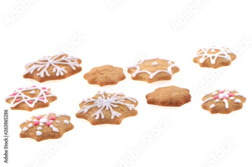 Christmas Gingerbread Snowflakes Isolated Buy This Stock Photo And