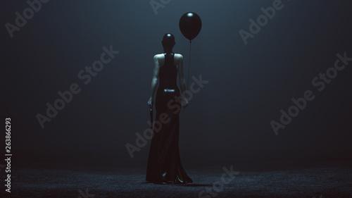 Fotografia  Futuristic Demon Woman With a Black Balloon and a Gun  In a Futuristic Haute Cou