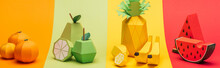 Panoramic Shot Of Various Handmade Origami Fruits On Stripes Of Colorful Paper