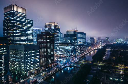 Night view on Marunouchi commercial dsitrict in Tokyo, Japan