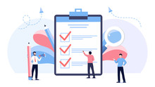 Businessman Holding Pencil At Complete Checklist With Tick Marks. Business Organization And Achievements Of Goals Vector Concept. Check List With Done Mark, Businessman With Questionnaire On Clipboard