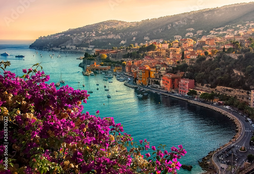 Tuinposter Cappuccino Villefranche Sur Mer, small village between Nice and Monaco