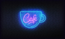 Cafe Neon Glowing Sign. Bright...