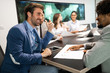 Successful business colleagues in modern conference room