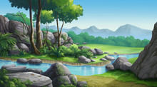 Mountains, Forests And Streams In The Clear Sky Look Very Beautiful.