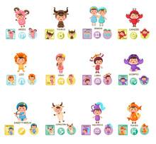 Set Illustration With Cartoon Zodiac Signs Vector