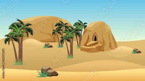 Desert landscape scene for cartoon or game background