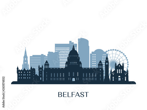 Canvas Belfast skyline, monochrome silhouette. Vector illustration.