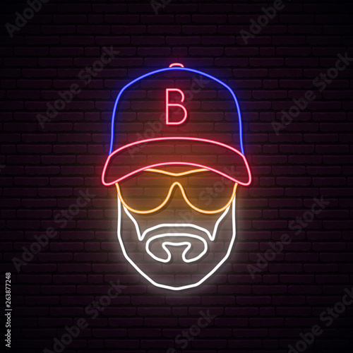 Fotografie, Obraz Neon avatar of man with baseball cap, wearing glasses and hat
