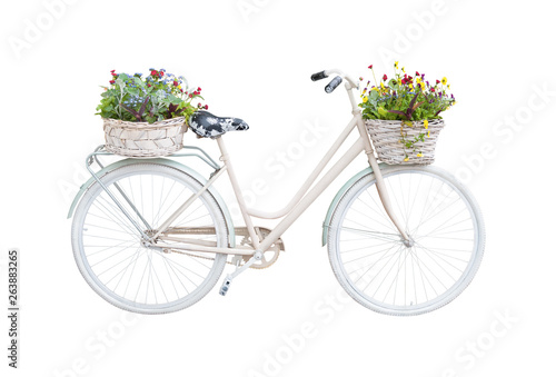 Photo sur Toile Velo Retro bicycle with floral baskets isolated on white background. Vintage vehicle