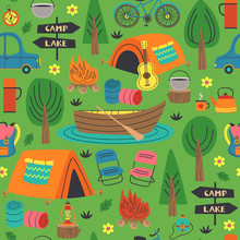 Seamless Pattern With Summer Camping In Forest  - Vector Illustration, Eps