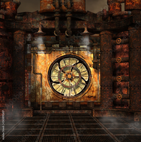 Fotografie, Obraz  Steampunk background with a smoking turbine – 3D illustration