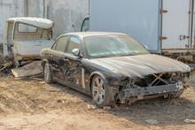 Russia, Kazan - April 20, 2019: Abandoned Black Jaguar. Damaged Car.