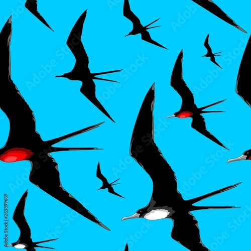 In de dag Draw FrigateBirds Majestic Flight Vector Repeat Seamless Textile Pattern Design