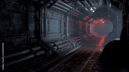Photo 3d rendering of realistic sci-fi dark corridor with red light