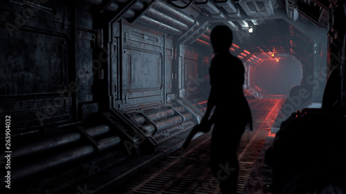 Fotografia Silhouette of a girl with a gun in her hand walking along a realistic sci-fi dark corridor with red light