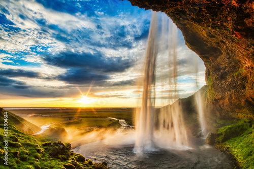 Wall Murals Waterfalls Seljalandfoss waterfall at sunset in HDR, Iceland