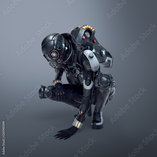 Photo Science fiction cyborg female squatting putting her palm on the floor