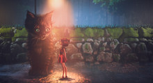 Little Fluffy Kitten Sitting Under A Street Lamp On Rainy Evening. Girl In A Red Dress Standing Near A Giant Cute Kitty. Surreal Image Of A Big Kitten Looks With Curiosity At A Little Girl. 3d Render