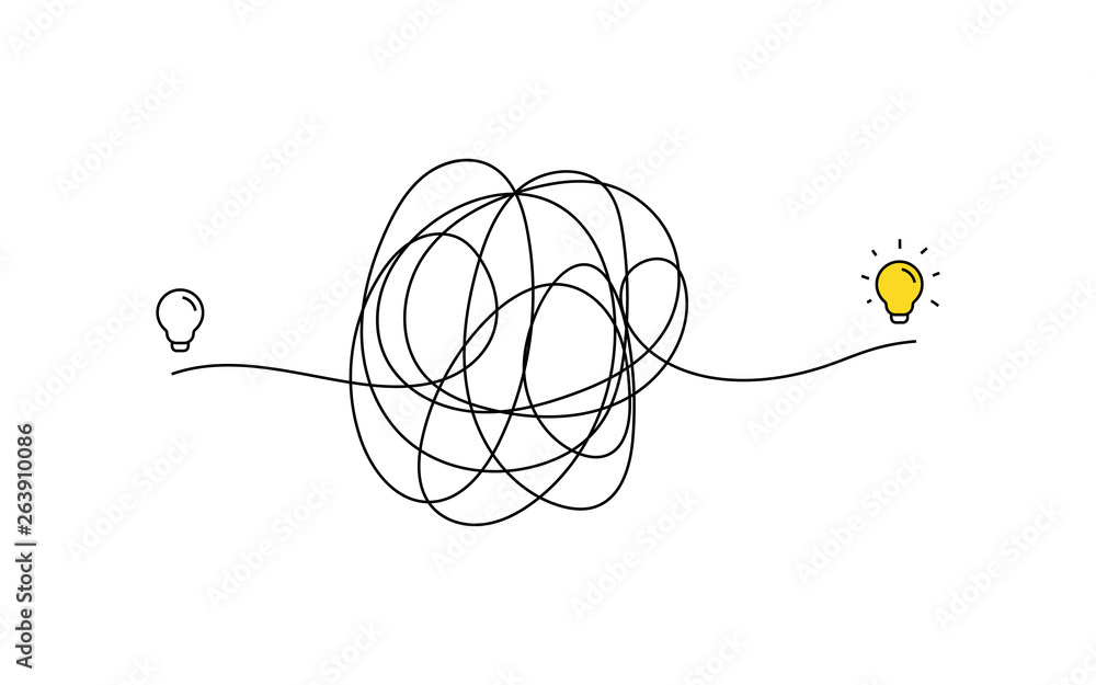 Fototapety, obrazy: very hard thinking of inspiration idea through a complicated way illustration. light bulb off to on with messy line symbol. tangled scribble line vector path doodle design.