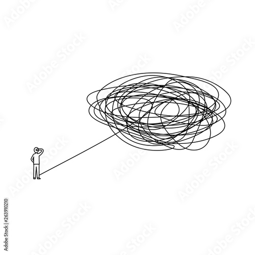 Fotografie, Obraz  standing man with complicated problem must be solved ahead illustration