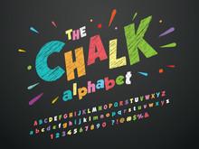 Bright Colorful Chalk Board Style Alphabet Design