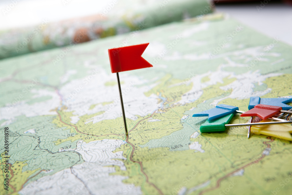 Fototapety, obrazy: topographic map with colored flag pushpins close up