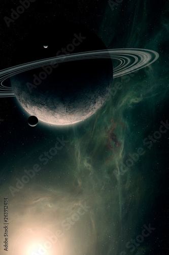 science fiction space scene, planet with rings and sattelites in bright sun light, dust and nebula in background digital illustration