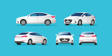 Car Vector Template On Blue Background. Business Sedan Isolated. Vector Illustration.