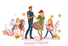 Happy Family Of Father, Mother And Children Outdoors Amoung Green Nature And Flowers. Riding The Bicycles. Family House. Colorful Vector Illustration.