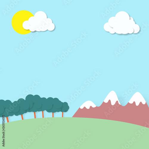 Printed kitchen splashbacks Light blue Fondo paisaje dibujo montañas, nubes y árboles