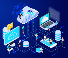 Cloud Networking Isometric Composition