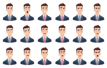 Man Emotions. Facial Characters Different Faces Sadness Hate Smile Head Portrait Vector Characters. Head Avatar Angry Face, Happy Emotion Illustration