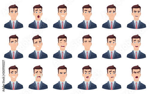 Obraz Man emotions. Facial characters different faces sadness hate smile head portrait vector characters. Head avatar angry face, happy emotion illustration - fototapety do salonu