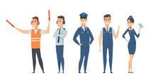 Pilots. Avia Company Persons Crew Pilots Stewardess Airplane Command Civil Aviation Vector Characters In Cartoon Style. Pilot And Stewardess, People Transport Service In Uniform Illustration