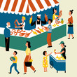 Seasonal outdoor market, street food festival. Buyers and sellers on marketplace. Cartoon vector flat illustration.