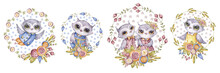 Aquarelle Owls And Flowers, Set In Childish Style