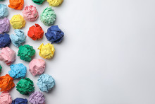 Colorful Paper Balls On White Background, Top View