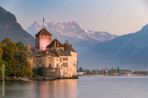 Fotografie, Obraz Chillon castle in Montreux during sunset in Switzerland
