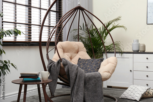 Fotografie, Obraz  Stylish modern room interior with swing chair