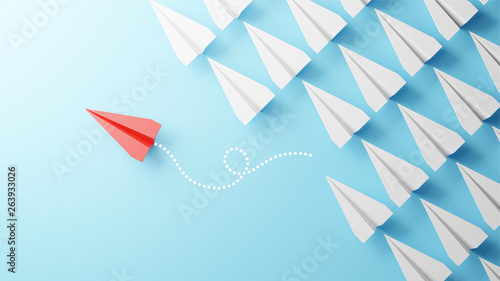 Obraz Illustration of leadership concept with red paper plane leading among white on blue background - fototapety do salonu